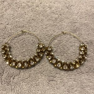 Anthropologie Gold Jeweled Earrings